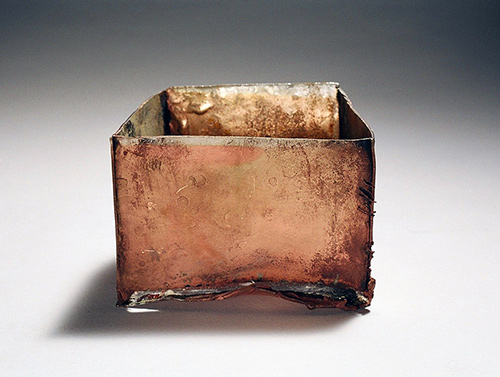 A fine silver and vitreous enamel square vessel