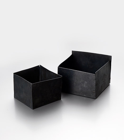 A set of two square vessels in patinated fine silver